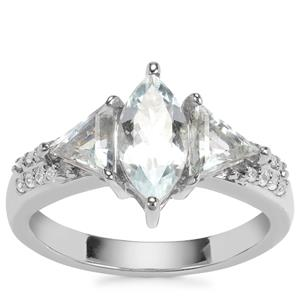 Sokoto Aquamarine Ring with White Zircon in Sterling Silver 1.62cts
