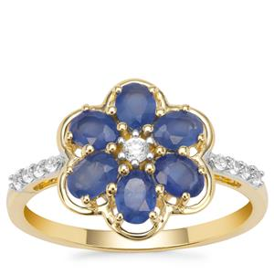 Burmese Blue Sapphire Ring with White Zircon in 9K Gold 1.38cts