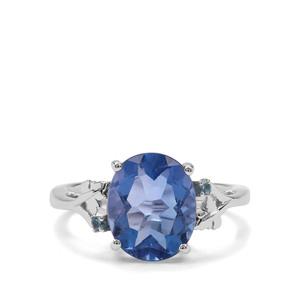 Baiyang Colour Change Fluorite & Marambaia London Blue Topaz Sterling Silver Ring ATGW 4.25cts