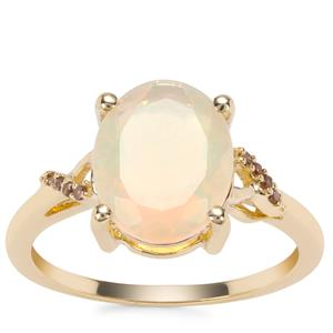 Ethiopian Opal Ring with Red Diamond in 9K Gold 1.89cts