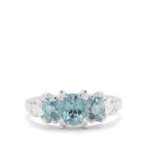 2.80ct Ratanakiri Blue & White Zircon Sterling Silver Ring