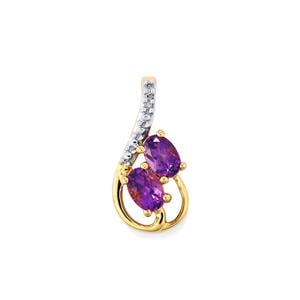 Moroccan Amethyst Pendant with Diamond in 10k Gold 0.94ct