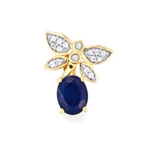 Santorinite™ Blue Spinel Pendant with White Zircon in 9K Gold 1.32cts