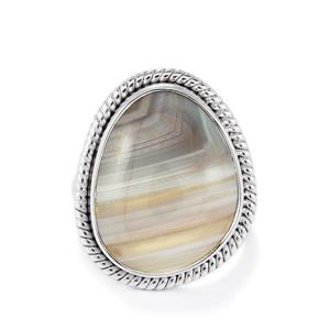 Botswana Agate Ring in Sterling Silver 11.50ct