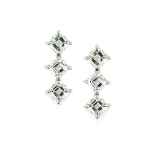 6.54ct White Topaz Sterling Silver Asscher Cut Earrings