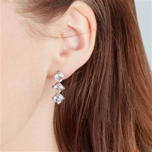 White Topaz Earrings in Sterling Silver 6.54cts