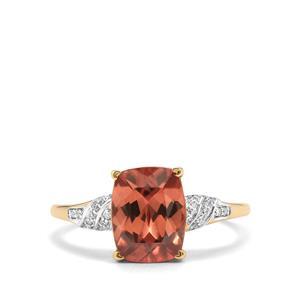 Zanzibar Zircon & Diamond 14K Gold Tomas Rae Ring ATGW 4.53cts