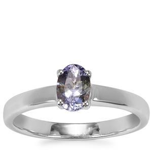 Bi Colour Tanzanite Ring with Diamond in Sterling Silver 0.61ct