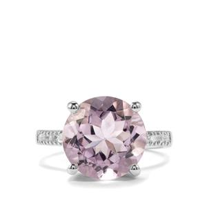 Rose De France Amethyst Ring with White Topaz in Sterling Silver 7.15cts