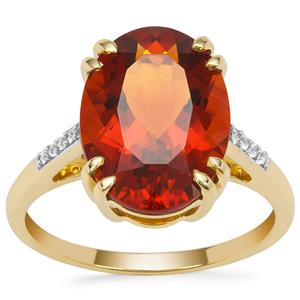 Madeira Citrine Ring with White Zircon in 9K Gold 5.05cts