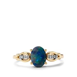 Crystal Opal on Ironstone Ring with Diamond in 10k Gold