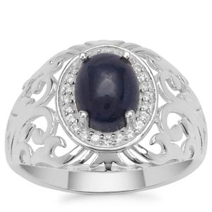 Ceylon Blue Sapphire Ring with White Zircon in Sterling Silver 3.20cts