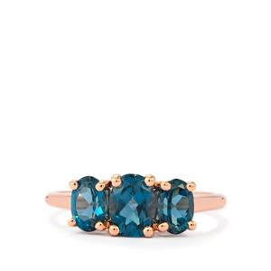 Marambaia London Blue Topaz Rose Gold Ring in Vermeil 2.03cts