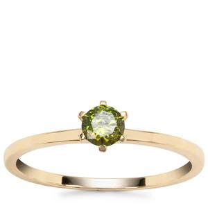 Green Diamond Ring in 9K Gold 0.27ct