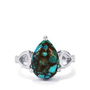 Egyptian Turquoise Ring in Sterling Silver 5.97cts