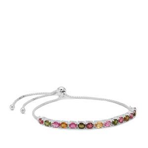 Rainbow Tourmaline Slider Bracelet in Sterling Silver 2.70cts
