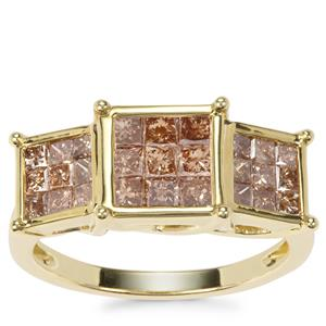 Champagne Diamond Ring in 9K Gold 1.45cts