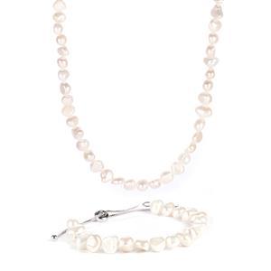 Kaori Cultured Pearl Sterling Silver Set of Slider Bracelet & Necklace (6mm)