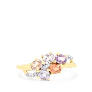 Natural Sakaraha Rainbow Sapphire & Diamond 9K Gold Ring ATGW 1.31cts