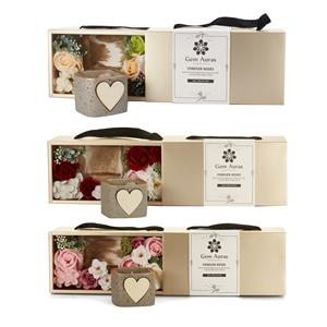 Gem Auras Forever Roses Candle Set with Carved Rose Quartz Heart ATGW 40cts - 3 Rose Colours Available