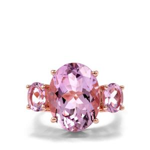 Rose De France Amethyst Ring in Rose Gold Plated Sterling Silver 10cts