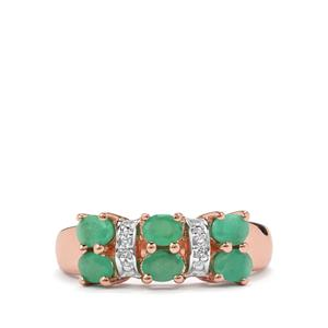 Minas Gerais Emerald Ring with White Topaz in Sterling Silver 1.22cts