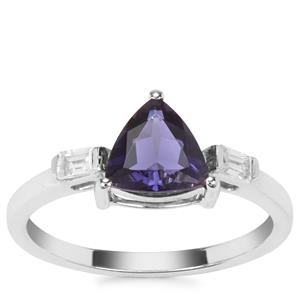Bengal Iolite Ring with White Zircon in 9K White Gold 1.11cts