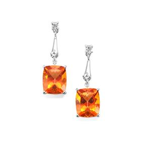 Padparadscha Quartz & White Topaz Sterling Silver Earrings ATGW 10.32cts