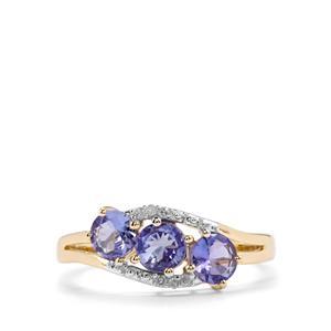 AA Tanzanite & Diamond 9K Gold Ring ATGW 1.18cts