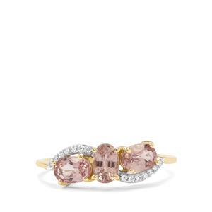 Padparadscha Sapphire & White Zircon 9K Gold Ring ATGW 1.46cts