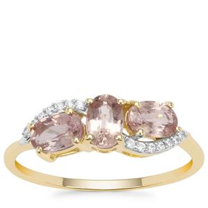 Padparadscha Sapphire Ring with White Zircon in 9K Gold 1.46cts