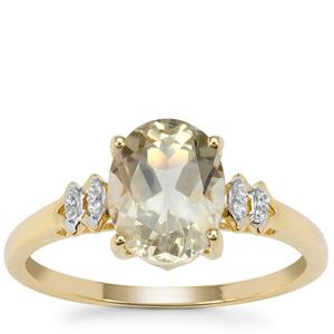 Peacock Parti Oregon Sunstone Ring with White Zircon in 9K Gold 1.72cts
