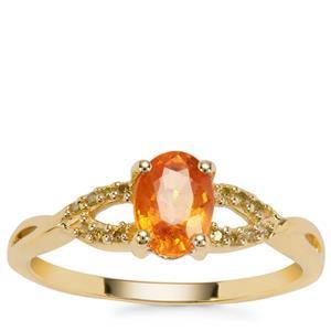 Mandarin Garnet Ring with Yellow Diamond in 9K Gold 1.27cts