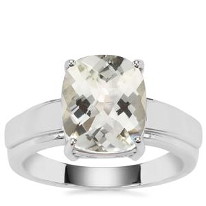 Prasiolite Ring in Sterling Silver 3.65cts