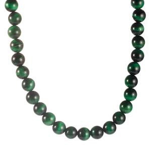 325.80ct Green Tiger's Eye Sterling Silver Necklace