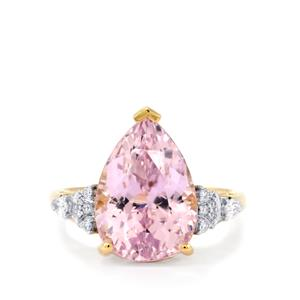 Mawi Kunzite Ring with Diamond in 18k Gold 8.57cts