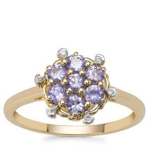 AA Tanzanite Ring with White Zircon in 9k Gold 0.76ct