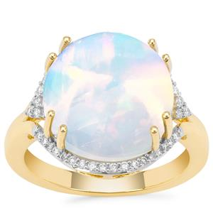 Ethiopian Opal Ring with Diamond in 18K Gold 8cts