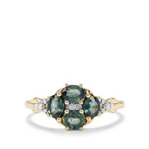 Natural Nigerian Blue Sapphire & Diamond 9K Gold Ring ATGW 1.20cts