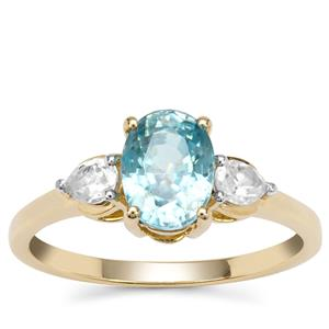 Ratanakiri Blue Zircon Ring with White Zircon in 9K Gold 2.45cts