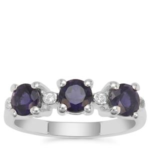 Bengal Iolite Ring with White Zircon in Sterling Silver 1.28cts
