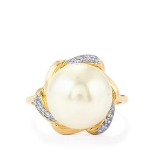 South Sea Cultured Pearl Ring with White Zircon in 10K Gold
