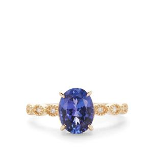 AAA Tanzanite Ring with Diamond in 9K Gold 2cts