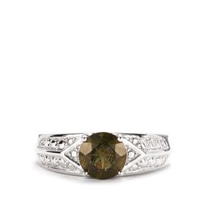 1.06ct Moldavite Sterling Silver Ring