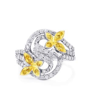 Yellow Diamond Ring with White Diamond in Sterling Silver 1.05ct