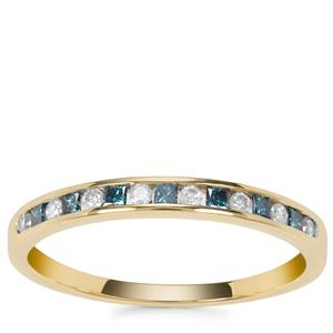 Blue Diamond Ring with White Diamond in 9K Gold 0.26ct