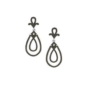 Black Spinel Earrings in Sterling Silver 2.07cts