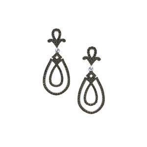 2.07ct Black Spinel Sterling Silver Earrings