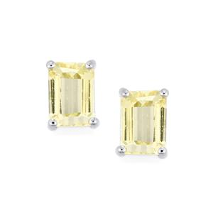 2.85ct Canary Kunzite Platinum Plated Sterling Silver Earrings