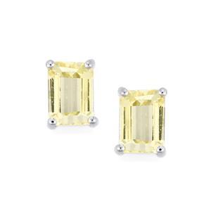 2.85ct Minas Novas Hiddenite Platinum Plated Sterling Silver Earrings